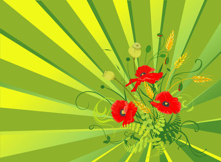 Summer flowers background with red poppies and wheat. Stock Vector - 3222807