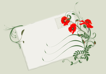 Summer flowers letter with red poppies. Stock Vector - 3222802