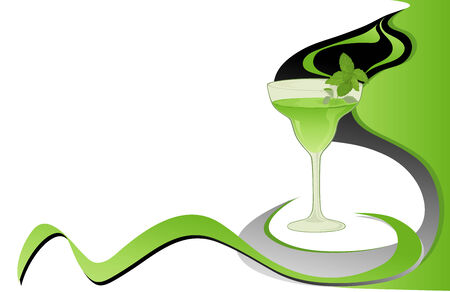 Cocktail green card with mint. Vector
