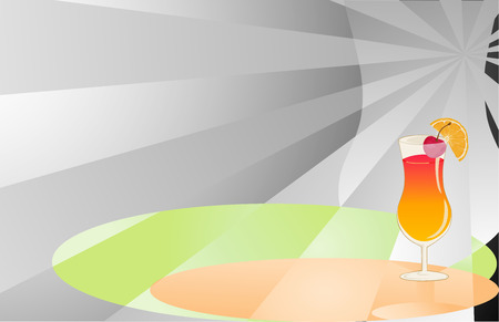 Cocktail abstract grey, orange and green background with glass. Vector