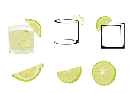 Caipiri�a cocktail glasses and lime.  Illustration
