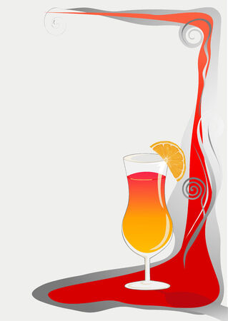 Cocktail card background with glass and orange. Vector