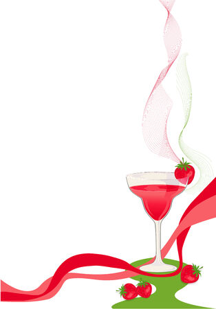 Cocktail red and green card with glass and strawberries. Illustration