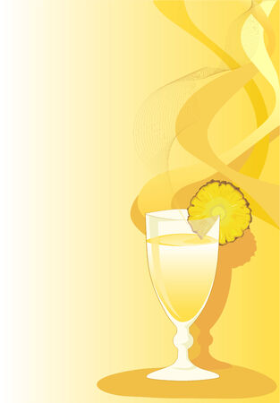 tarjeta amarilla: Cocktail tarjeta amarilla con vidrio y pi�a.