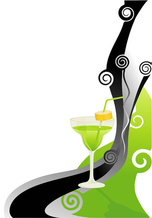 Cocktail green card with banana. Vector
