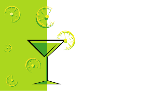 Cocktail green card with lemons. Illustration