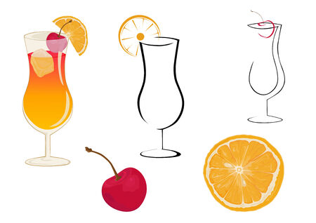 Cocktail glasses, cherry and orange. Stock Vector - 3274018