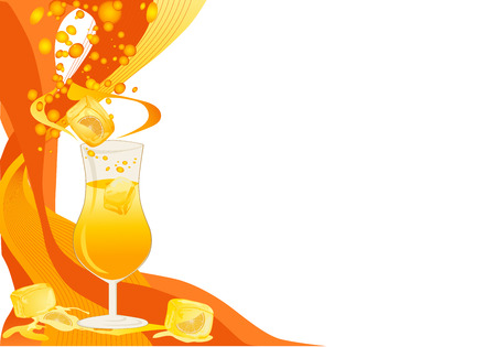 Drink orange and yellow card with ice cubes and oranges. Vector