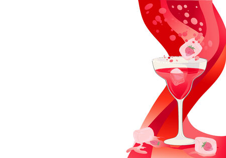Drink red card with ice cubes and strawberries. Vector