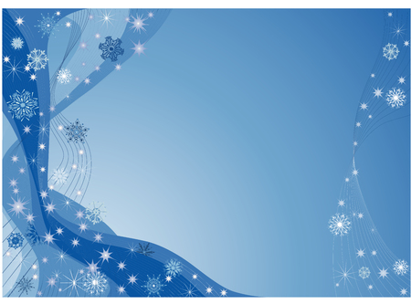 twirls: Blue christmas background with snowflakes  and twirls. Illustration
