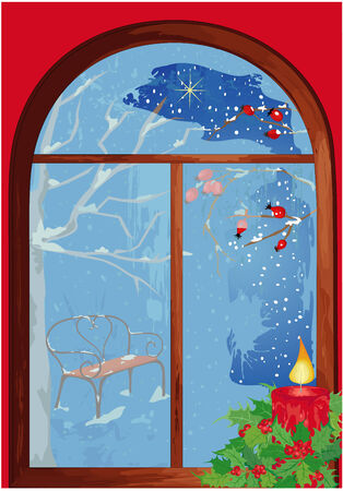 Icy christmas window with candle. Vector