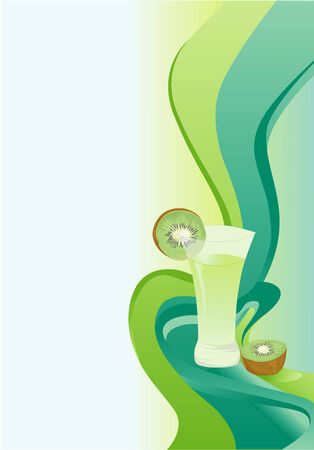 Cocktail abstract green card with kiwi. Vector