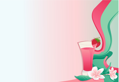 Cocktail card with strawberry and plumeria. Vector