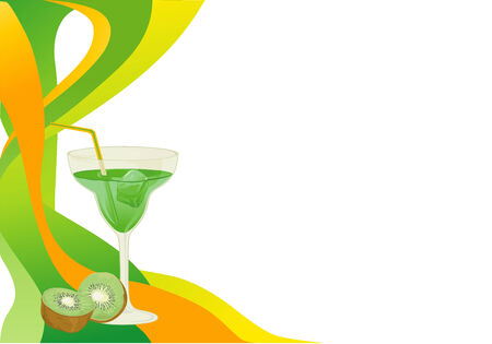 Cocktail abstract green and yellow card with kiwi. Vector
