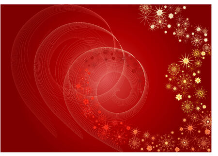 twirls: Red christmas snowflakes and twirls background. Illustration