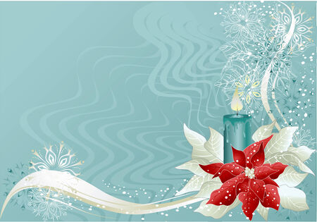 Blue abstract christmas  with poinsettia and candle. Illustration