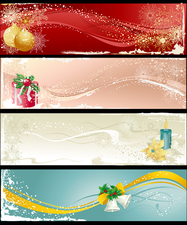 Christmas banners with baubles, gift, candle and bells.