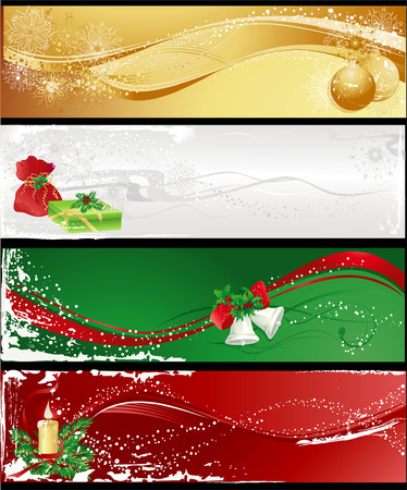 Christmas different banners with baubles, gifts, candle and bells.