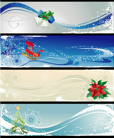 Christmas different banners with bells,poinsettia, sleigh and tree. Illustration