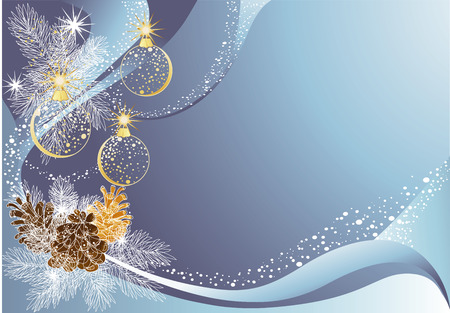 Blue christmas  with baubles and pine cones. Vector