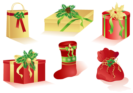 Christmas red and gold isolated different gifts. Vector