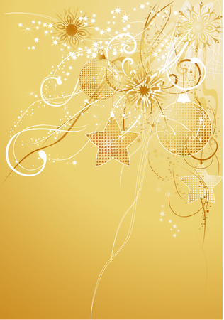 Gold abstract  with baubles and snowflakes.