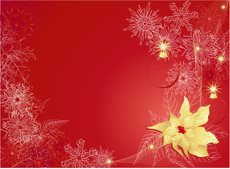 Red abstract  with poinsettia and snowflakes.