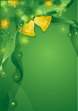 Green abstract christmas  with bells.