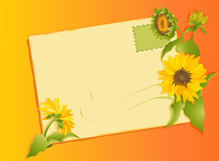 Summer flowers letter with sunflowers.