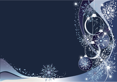 Blue christmas  with snowflakes and baubles. Illustration