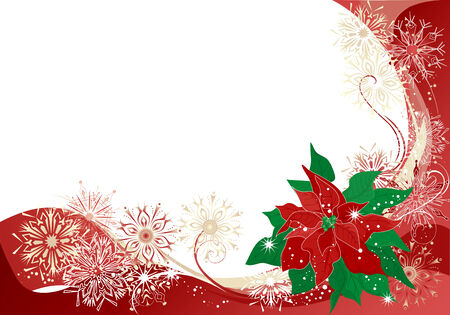 Christmas abstract  with poinsettia and snowflakes. Vector