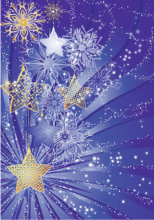 Blue christmas background with stars and snowflakes. Illustration