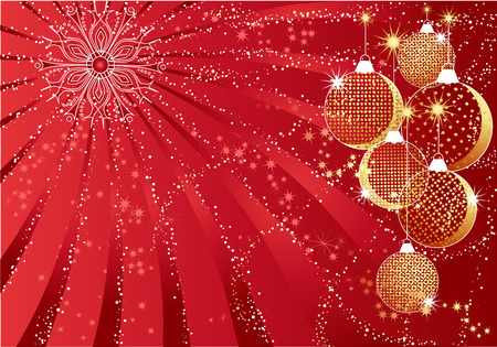 Red christmas abstract background with gold baubles. Vector
