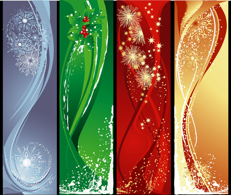 Christmas abstract different vertical banners. Vector
