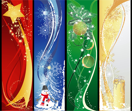 Christmas vertical banners with star, snowman, baubles and gift. Vector