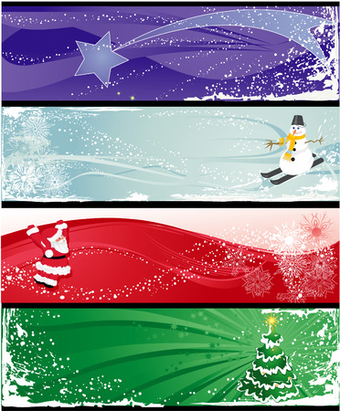 Christmas horizontal banners with star, snowman, Santa Claus and tree. Illustration