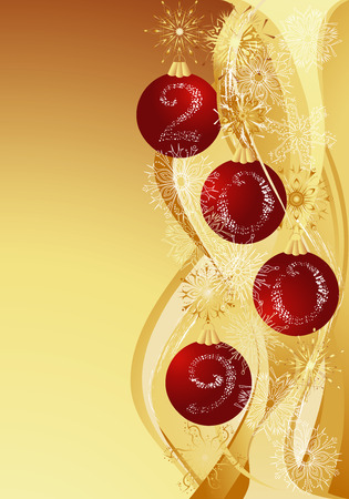 Gold christmas abstract background with red baubles and 2009. Vector