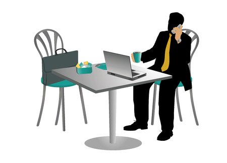 savor: Businessman at a table drinking cappuccino and talking on mobile.