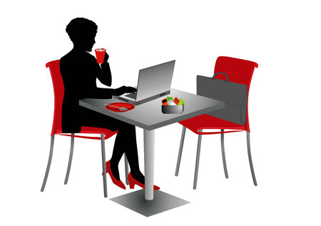 Businesswoman with notebook at a table drinking cappuccino.  Vector