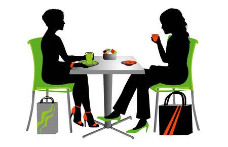 cappucino: Twee vrouwen op een kleine tabel koffie drinken. Stock Illustratie