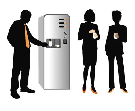 cappucino: Koffie pauze op het kantoor. Stock Illustratie