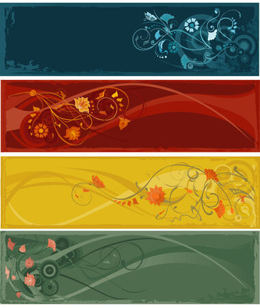 Four horizontal banners with abstract flowers. Vector