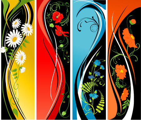 Four vertical banners with flowers.