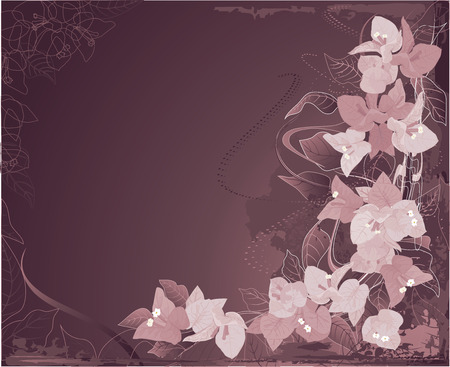 Abstract grunge background with violet bougainvillea and swirls. Stock Vector - 4721539