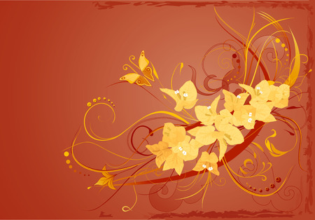 Abstract brown background with yellow bougainvillea and butterfly.