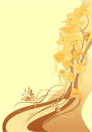 Abstract background with yellow bougainvillea and butterfly. Stock Vector - 4721536