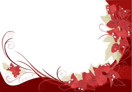 Abstract background with red bougainvillea. Illustration