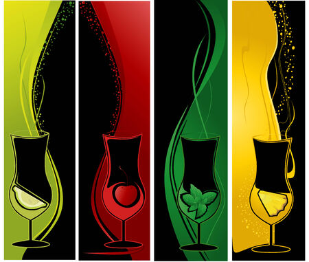 Four vertical banners with cocktail glasses and fruits.