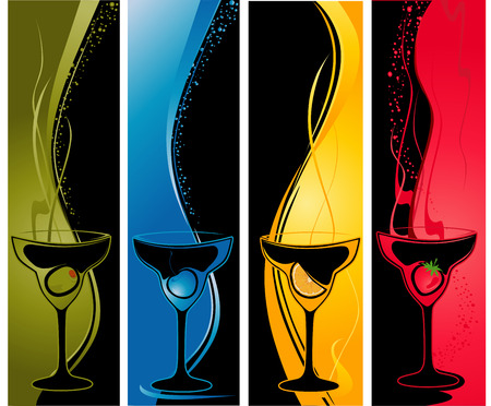 Four vertical banners with cocktail glasses.