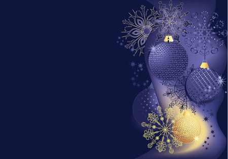 Blue and gold christmas background with balls and snowflakes.
